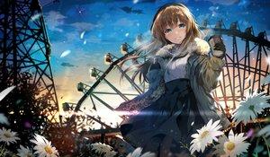 Rating: Safe Score: 101 Tags: aqua_eyes brown_hair clouds drink flowers gloves hirai_yuzuki long_hair original petals signed skirt sky sunset User: RyuZU