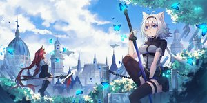 Rating: Safe Score: 64 Tags: 2girls animal_ears ashisi building butterfly clouds mage original red_eyes red_hair sky sword weapon User: BattlequeenYume