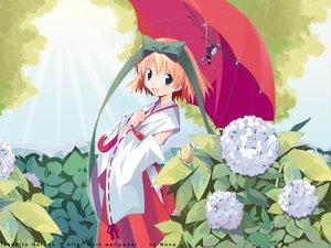 Rating: Safe Score: 7 Tags: animal bow flowers harada_takehito japanese_clothes miko short_hair umbrella watermark User: Oyashiro-sama