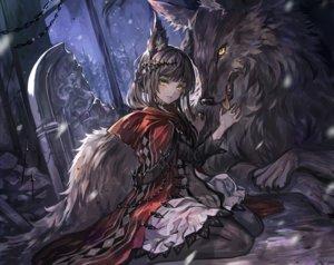 Rating: Safe Score: 66 Tags: animal animal_ears black_hair cropped dress forest hoodie long_hair night original pantyhose ruins senano-yu tree wolf wolfgirl yellow_eyes User: BattlequeenYume