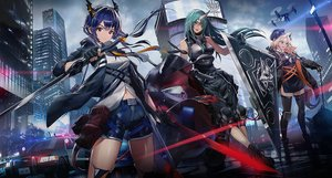 Rating: Safe Score: 82 Tags: animal_ears arknights blonde_hair braids brown_eyes building car catgirl ch'en_(arknights) city garter_belt gloves green_hair hat horns hoshiguma_(arknights) long_hair motorcycle ponytail purple_hair red_eyes shorts swav swire_(arknights) sword weapon User: sadodere-chan