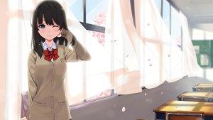 Rating: Safe Score: 78 Tags: black_hair blue_eyes bow long_hair original petals school_uniform skirt unasaka_ryou wink User: RyuZU