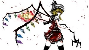 Rating: Safe Score: 52 Tags: blonde_hair fang fire flandre_scarlet hat morise red_eyes thighhighs touhou weapon wings User: 02
