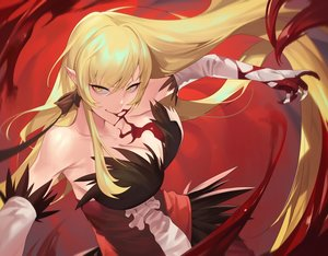Rating: Safe Score: 75 Tags: bakemonogatari blonde_hair blood breasts cleavage dress elbow_gloves gloves kissshot_acerolaorion_heartunderblade long_hair monogatari_(series) oshino_shinobu pointed_ears ssangbong-llama vampire User: Fepple