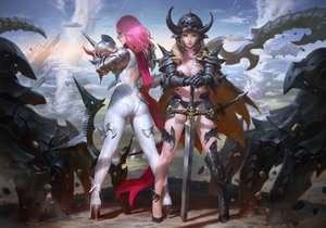 Rating: Safe Score: 96 Tags: 2girls aircraft armor ass blonde_hair blue_eyes bodysuit breasts cape cleavage clouds kilart long_hair original pink_hair scarf skintight sky sword tattoo weapon User: BattlequeenYume