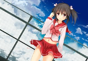 Rating: Safe Score: 75 Tags: black_hair blush minari_(minari37) navel rooftop school_uniform signed skirt skirt_lift sky to_heart to_heart_2 twintails yuzuhara_konomi User: FormX
