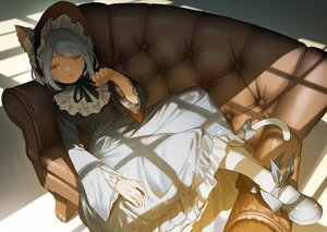 Rating: Safe Score: 61 Tags: animal_ears bow brown_eyes catgirl couch fang goth-loli gray_hair headdress lolita_fashion mogumo original pantyhose short_hair tail User: otaku_emmy