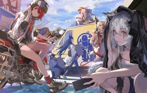 Rating: Safe Score: 43 Tags: animal animal_ears arknights bicycle blonde_hair blue_eyes blue_hair clouds croissant_(arknights) dress exusiai_(arknights) gloves gray_hair group halo kiriyama lappland_(arknights) long_hair orange_eyes penguin phone ponytail red_eyes red_hair scar short_hair sky sora_(arknights) staff tail texas_(arknights) the_emperor_(arknights) User: BattlequeenYume