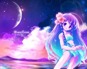 Rating: Safe Score: 5 Tags: bikini blue_hair clouds long_hair moon purple_eyes purple_hair swimsuit tagme watermark User: Oyashiro-sama