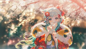 Rating: Safe Score: 67 Tags: animal_ears aqua_eyes aqua_hair blush catgirl japanese_clothes kimono long_hair original paper say_hana tree watermark User: BattlequeenYume
