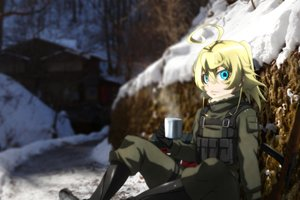 Rating: Safe Score: 2 Tags: aqua_eyes blonde_hair boots drink genya67 gloves military short_hair tanya_degurechaff weapon youjo_senki User: RyuZU