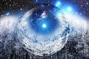 Rating: Safe Score: 140 Tags: ball bubbles forest night original reflection sky snow stars tree winter zonomaru User: otaku_emmy
