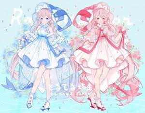 Rating: Safe Score: 47 Tags: 2girls aqua_eyes bell blonde_hair bow flowers headdress long_hair miyuki_(miyuki_05290) original pink_eyes pink_hair ribbons User: RyuZU