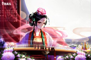 Rating: Safe Score: 83 Tags: black_hair chinese_clothes flowers instrument moon night original photoshop rail_(silverbow) red_eyes short_hair tattoo User: Waylander77