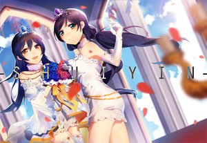 Rating: Safe Score: 60 Tags: 2girls blue_hair clouds dress elbow_gloves gloves long_hair love_live!_school_idol_project na2co3 orange_eyes petals sky sonoda_umi thighhighs tiara toujou_nozomi twintails User: RyuZU