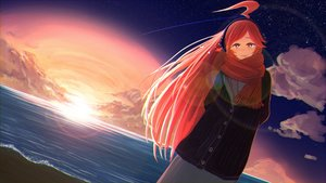Rating: Safe Score: 51 Tags: clouds miki_(vocaloid) red_eyes red_hair scarf sky stars sunset vocaloid water yue_(yueanh) User: FormX