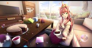 Rating: Safe Score: 43 Tags: blush brown_hair bubbles cake clouds doki_doki_literature_club! drink food grass green_eyes hat long_hair monika_(ddlc) ponytail skirt sky thighhighs tsukimaru User: otaku_emmy