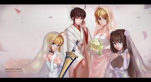 Rating: Safe Score: 35 Tags: aozaki_aoko arcueid_brunestud blonde_hair blue_eyes brown_hair choker crossover fate_(series) fate/stay_night flowers green_eyes japanese_clothes kara_no_kyoukai kimono mahou_tsukai_no_yoru red_eyes ryougi_shiki saber senna_(dzhang13) shingetsutan_tsukihime sword weapon wedding_attire User: luckyluna