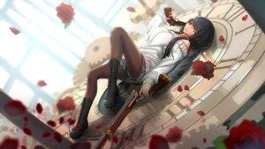 Rating: Safe Score: 357 Tags: bicolored_eyes black_hair boots date_a_live flowers gun kikivi long_hair pantyhose rose skirt tokisaki_kurumi upskirt weapon User: SciFi