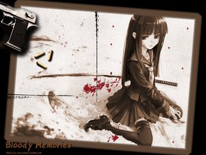 Rating: Safe Score: 66 Tags: black_hair blood gun long_hair sword uesugi_kenshin uniform weapon User: Oyashiro-sama