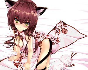 Rating: Safe Score: 243 Tags: animal_ears bell blush breasts brown_hair catgirl chinese_clothes chinese_dress cleavage cropped kitou_kaitai nopan original tail yellow_eyes User: Wiresetc