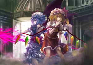 Rating: Safe Score: 76 Tags: blonde_hair blue_hair dress flandre_scarlet hat remilia_scarlet takakyo touhou vampire weapon wings User: opai