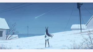 Rating: Safe Score: 122 Tags: animal_ears black_hair boat building bunny_ears kamu_kame long_hair original pantyhose scenic sky snow water User: ssagwp