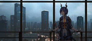 Rating: Safe Score: 64 Tags: arknights blue_hair building ch'en_(arknights) city gloves horns mool_yueguang orange_eyes scenic shorts sword tie twintails weapon User: mattiasc02