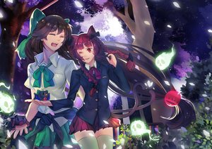 Rating: Safe Score: 74 Tags: 2girls animal_ears black_hair bow braids catgirl kaenbyou_rin long_hair multiple_tails petals red_eyes red_hair reiuji_utsuho skirt tail thighhighs touhou tree tsubasa19900920 wink yukkuri_shiteitte_ne zettai_ryouiki User: Flandre93