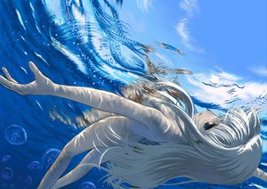 Rating: Questionable Score: 115 Tags: blue_eyes long_hair macross macross_frontier nude sheryl_nome underwater water white_hair User: w7382001