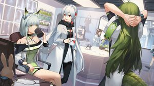 Rating: Safe Score: 41 Tags: 3four animal_ears arknights fang folinic_(arknights) gavial_(arknights) gray_hair green_eyes green_hair group kal'tsit_(arknights) long_hair pantyhose pointed_ears red_eyes short_hair tail vampire warfarin_(arknights) white_hair User: Nepcoheart