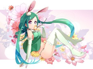 Rating: Safe Score: 113 Tags: animal_ears bunny_ears bunnygirl flowers green_hair pomon_illust tagme thighhighs User: opai
