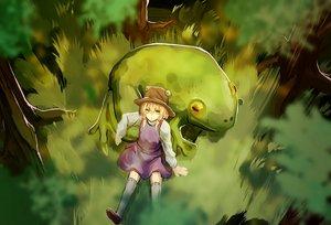 Rating: Safe Score: 50 Tags: animal dress eredhen frog grass hat moriya_suwako thighhighs touhou tree User: humanpinka