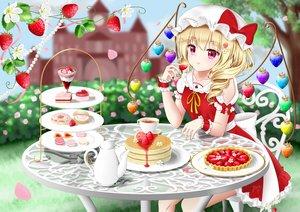 Rating: Safe Score: 27 Tags: blonde_hair bow building cake dress drink flandre_scarlet flowers food fruit hat nyanyanoruru petals pink_eyes ponytail strawberry touhou tree vampire wings wristwear User: otaku_emmy