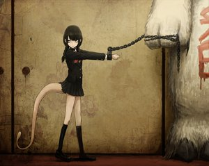 Rating: Safe Score: 66 Tags: black_hair braids demon original seifuku tail toi_(number8) yellow_eyes User: SonicBlue