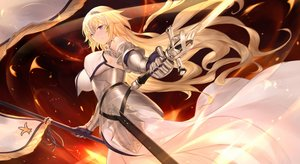 Rating: Safe Score: 75 Tags: armor blonde_hair blue_eyes breasts cangkong dress fate/apocrypha fate/grand_order fate_(series) fire headdress jeanne_d'arc_(fate) long_hair sword weapon User: luckyluna