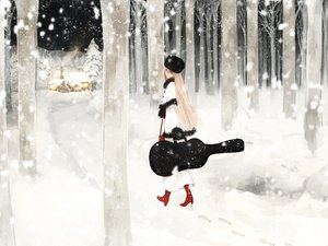 Rating: Questionable Score: 43 Tags: guitar hat instrument katase_waka megurine_luka pink_hair snow tree vocaloid User: w7382001