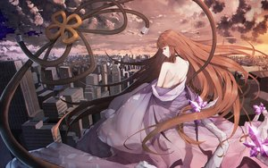 Rating: Safe Score: 52 Tags: brown_hair building city clouds dress forever_7th_capital long_hair red_eyes scenic sky tagme_(artist) tagme_(character) User: BattlequeenYume