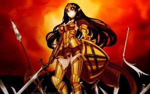Rating: Safe Score: 130 Tags: annelotte armor brown_hair cape cleavage elf long_hair necklace panties queen's_blade red_eyes skirt spear sword tiara underwear weapon User: gnarf1975