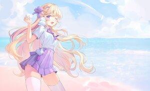 Rating: Safe Score: 68 Tags: animal beach bird blonde_hair clouds harusame_(user_wawj5773) long_hair original purple_eyes school_uniform sky thighhighs wink zettai_ryouiki User: BattlequeenYume