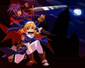 Rating: Safe Score: 11 Tags: chrno chrono_crusade gun moon nun pointed_ears rosette_christopher sword weapon User: Oyashiro-sama