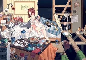 Rating: Safe Score: 108 Tags: barefoot bed book bra brown_hair bunny drink fan hitomai kotatsu open_shirt original panties shirt translation_request underwear User: RyuZU