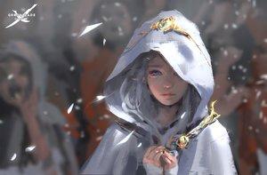 Rating: Safe Score: 161 Tags: aqua_eyes ghostblade gray_hair jpeg_artifacts logo petals pointed_ears princess_yan realistic wlop User: RyuZU