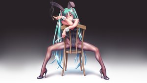 Rating: Safe Score: 107 Tags: animal_ears aqua_eyes aqua_hair bunny_ears bunnygirl cigarette gradient hatsune_miku headphones pantyhose spread_legs takouji twintails vocaloid User: gnarf1975