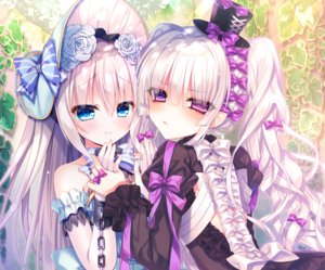Rating: Safe Score: 43 Tags: 2girls aqua_eyes bicolored_eyes bow chain cropped goth-loli hat headdress lolita_fashion long_hair original purple_eyes shackles shoujo_ai tsukikage_nemu white_hair User: otaku_emmy