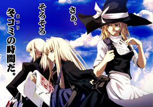 Rating: Safe Score: 84 Tags: artoria_pendragon_(all) blonde_hair blue_eyes book clouds crossover evangeline_a_k_mcdowell fate_(series) fate/stay_night hat imizu_(nitro_unknown) kirisame_marisa mahou_sensei_negima saber sky touhou witch witch_hat yellow_eyes User: PAIIS