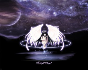 Rating: Safe Score: 15 Tags: angel barefoot black_eyes black_hair long_hair moon night nude planet space stars tagme_(artist) twilight wings User: Oyashiro-sama