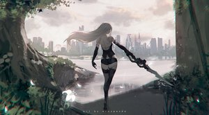 Rating: Safe Score: 152 Tags: ass building city clouds erospanda flowers long_hair nier nier:_automata sky sword techgirl thighhighs torn_clothes tree water watermark weapon white_hair yorha_unit_no._2_type_a User: BattlequeenYume