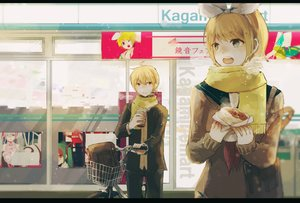 Rating: Safe Score: 67 Tags: blonde_hair danjou_sora drink food green_eyes hatsune_miku kagamine_len kagamine_rin male mousou_zei_(vocaloid) scarf short_hair snow vocaloid winter User: Flandre93