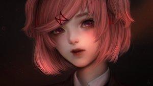 Rating: Safe Score: 123 Tags: alqmia close dark doki_doki_literature_club! natsuki_(ddlc) pink_eyes pink_hair realistic short_hair signed twintails User: otaku_emmy